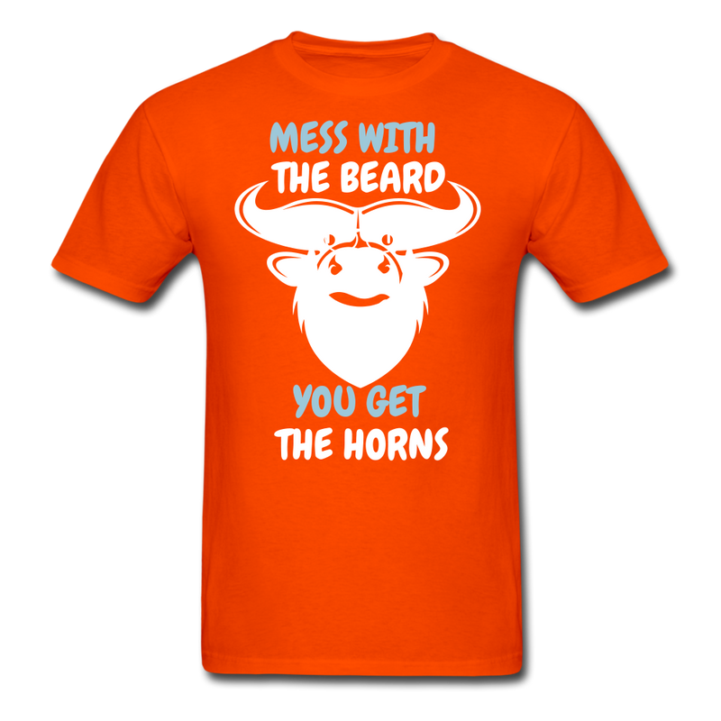Mess With The Beard. You Get The Horns T-Shirt - bearded-money