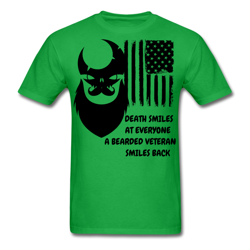 Death Smiles At Everyone, A Bearded Veteran Smiles Back T-Shirt - bearded-money