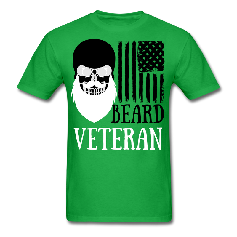Beard Veteran Skull T-Shirt - bearded-money