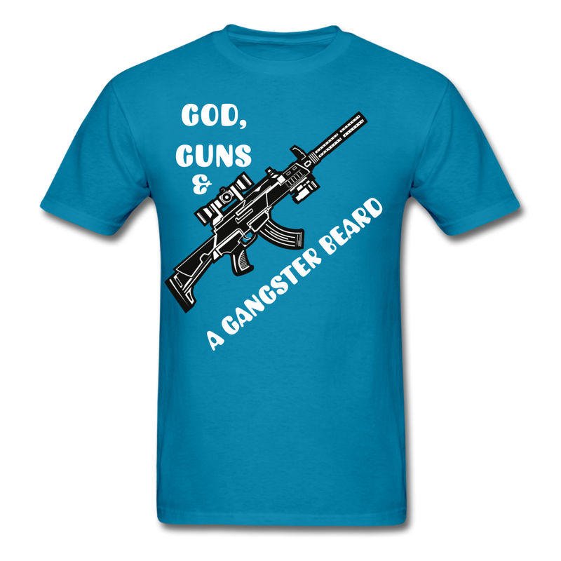 God, Guns & A Gangster Beard T-Shirt - bearded-money