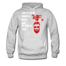 She Likes My Tractor Dirty And My Beard Sexy Men's Hoodie - ash