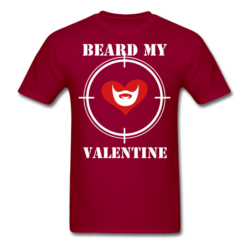 Beard My Valentine Men's T-Shirt - dark red