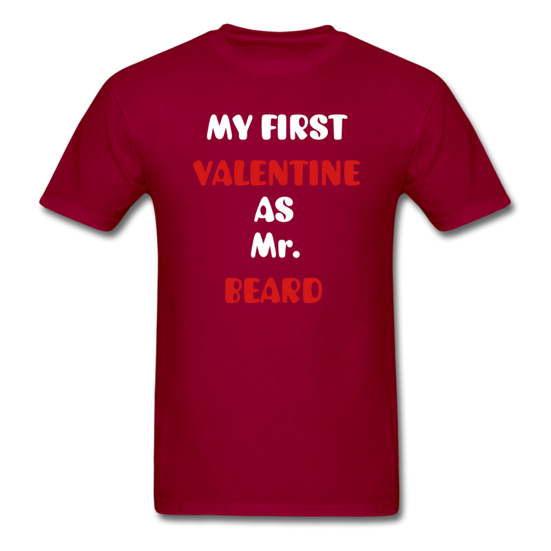 My Valentine As Mr. Beard Men's T-Shirt - dark red