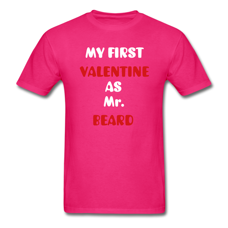 My Valentine As Mr. Beard Men's T-Shirt - fuchsia
