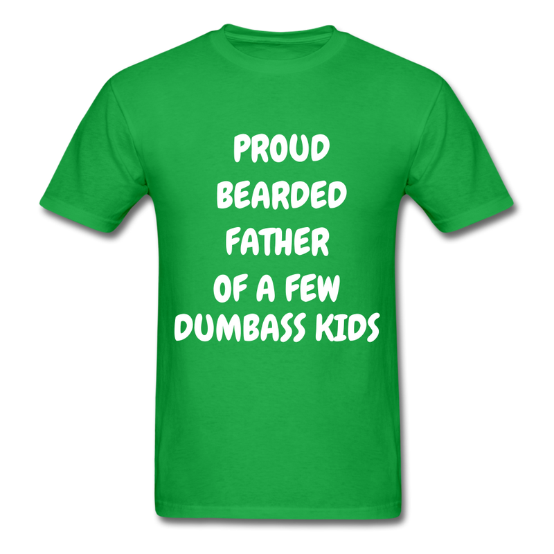 Proud Bearded Father Of A Few Dumbass Kids Men's T-Shirt - bright green