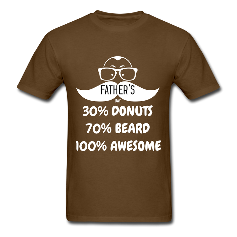 30% Donuts, 70% Beard, 100 Awesome Men's T-Shirt - brown