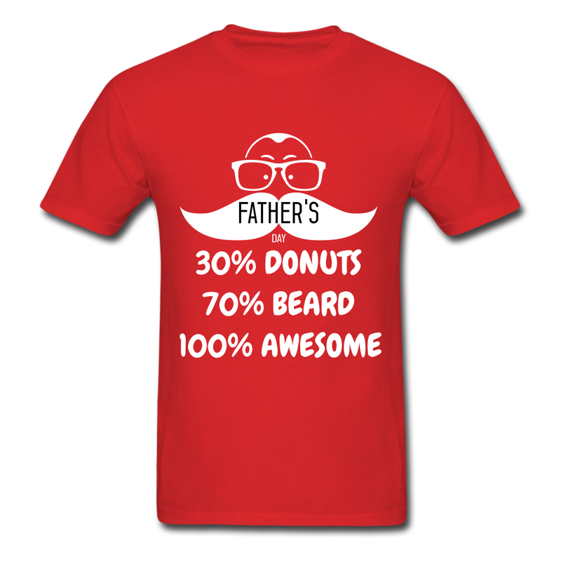 30% Donuts, 70% Beard, 100 Awesome Men's T-Shirt - red