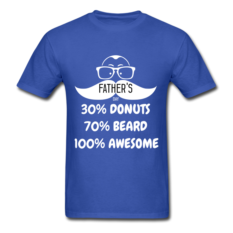 30% Donuts, 70% Beard, 100 Awesome Men's T-Shirt - royal blue