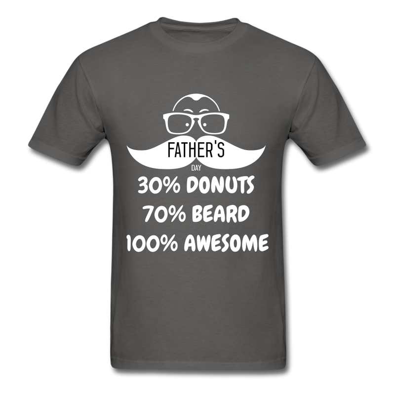 30% Donuts, 70% Beard, 100 Awesome Men's T-Shirt - charcoal