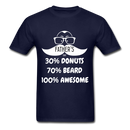 30% Donuts, 70% Beard, 100 Awesome Men's T-Shirt - navy