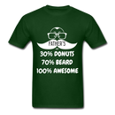 30% Donuts, 70% Beard, 100 Awesome Men's T-Shirt - forest green