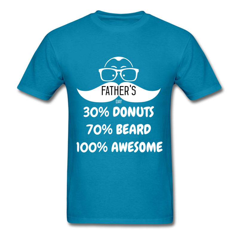 30% Donuts, 70% Beard, 100 Awesome Men's T-Shirt - turquoise