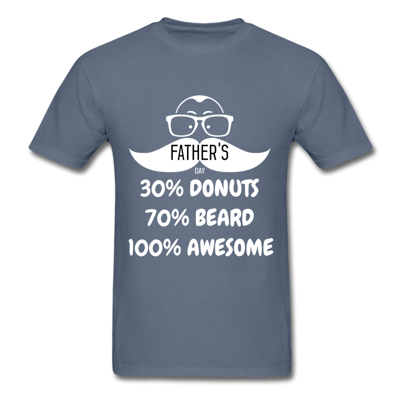 30% Donuts, 70% Beard, 100 Awesome Men's T-Shirt - denim