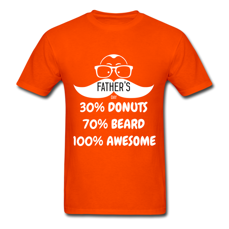 30% Donuts, 70% Beard, 100 Awesome Men's T-Shirt - orange