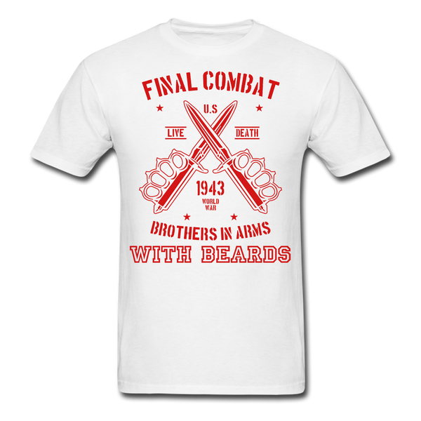 Final Combat Brothers In Arms With Beard Men's T-Shirt - white