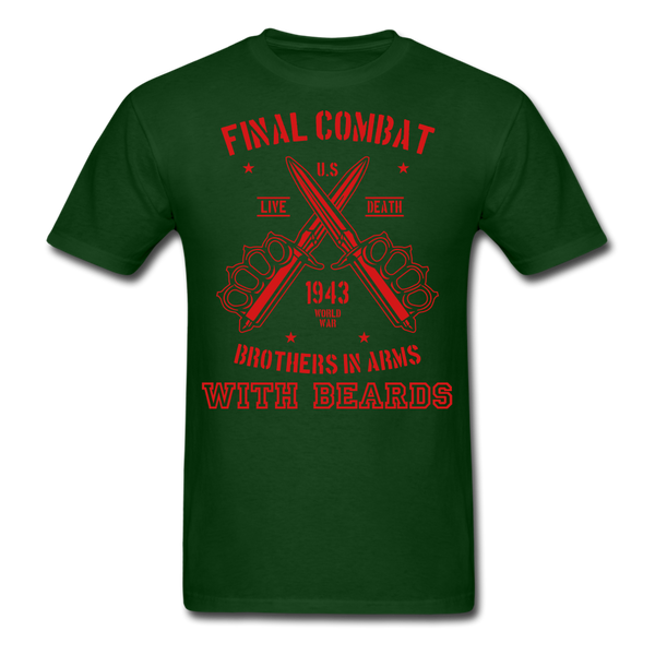 Final Combat Brothers In Arms With Beard Men's T-Shirt - forest green