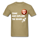 Come And Explore The Beard Men's T-Shirt - khaki