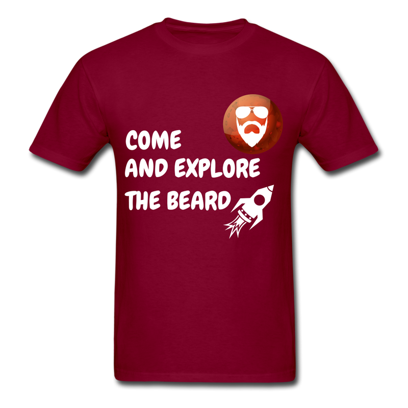 Come And Explore The Beard Men's T-Shirt - burgundy