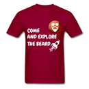 Come And Explore The Beard Men's T-Shirt - dark red