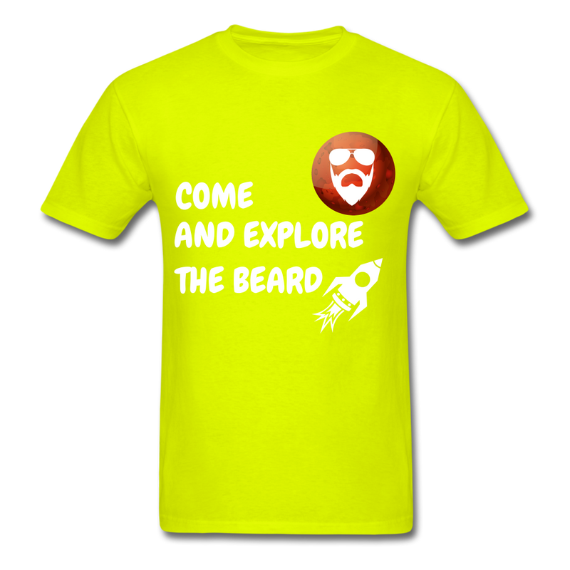 Come And Explore The Beard Men's T-Shirt - safety green