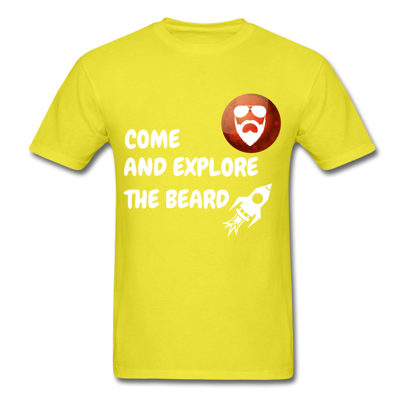 Come And Explore The Beard Men's T-Shirt - yellow