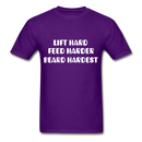 Lift Hard, Feed Harder, Beard Hardest  Men's T-Shirt - purple
