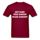Lift Hard, Feed Harder, Beard Hardest  Men's T-Shirt - burgundy