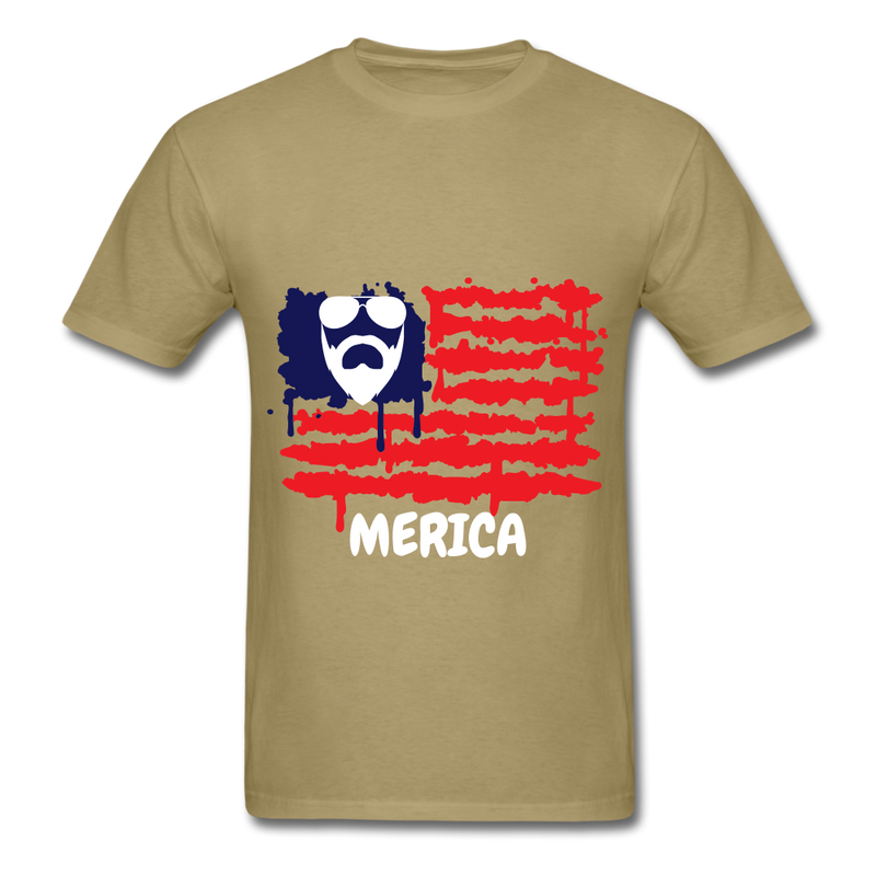 Beard Merica Men's T-Shirt - khaki