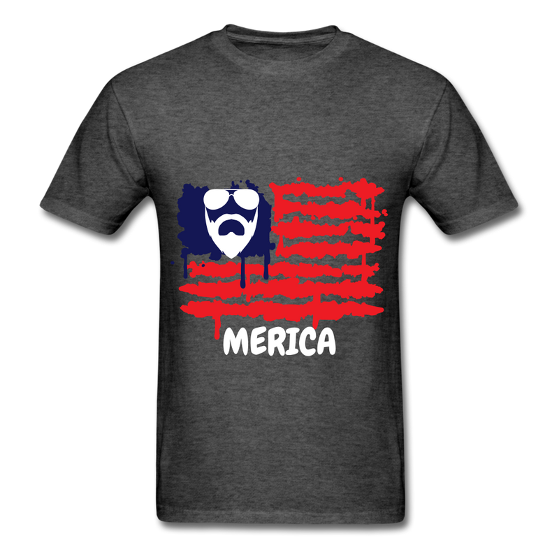 Beard Merica Men's T-Shirt - heather black