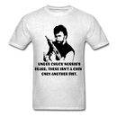Under Chuck Norris's Beard, There Isn't A Chin Only Another Fist Men'sT-Shirt - light heather gray