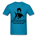 Under Chuck Norris's Beard, There Isn't A Chin Only Another Fist Men'sT-Shirt - turquoise