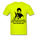 Under Chuck Norris's Beard, There Isn't A Chin Only Another Fist Men'sT-Shirt - safety green