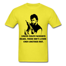 Under Chuck Norris's Beard, There Isn't A Chin Only Another Fist Men'sT-Shirt - yellow