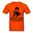 Under Chuck Norris's Beard, There Isn't A Chin Only Another Fist Men'sT-Shirt - orange