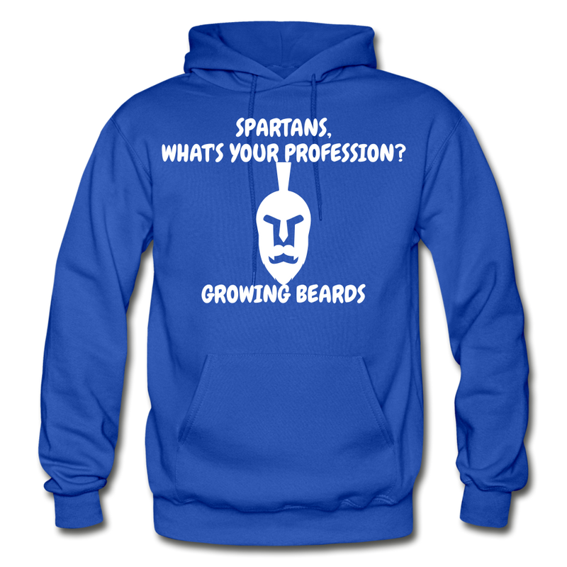 Spartans, What's Your Profession? Growing Beards Hoodie - royal blue