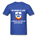 My Beard Is Like A Fireman, Find Them Hot leave Them Wet Men's T-shirt - royal blue