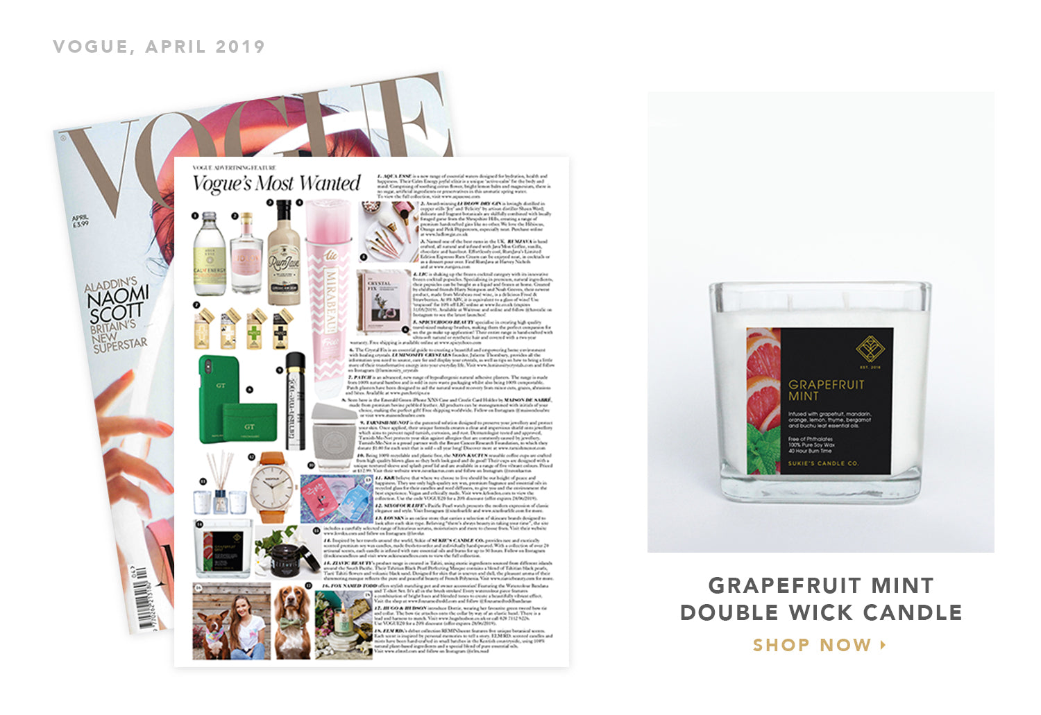 Sukie's Candle Co. featured in Vogue