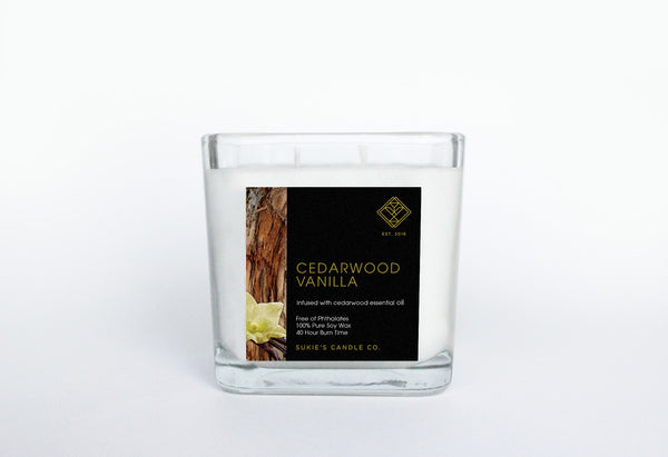 Cedarwood Vanilla 100% Pure Soy Double Wick Candle