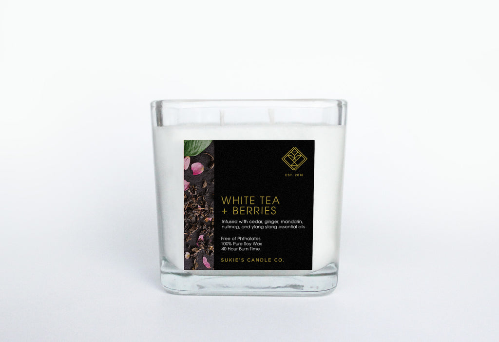 White Tea + Berries 100% Pure Soy Double Wick Candle