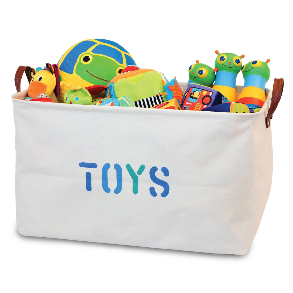 Canvas Toy Storage Basket with Handles (Blue Lettering)