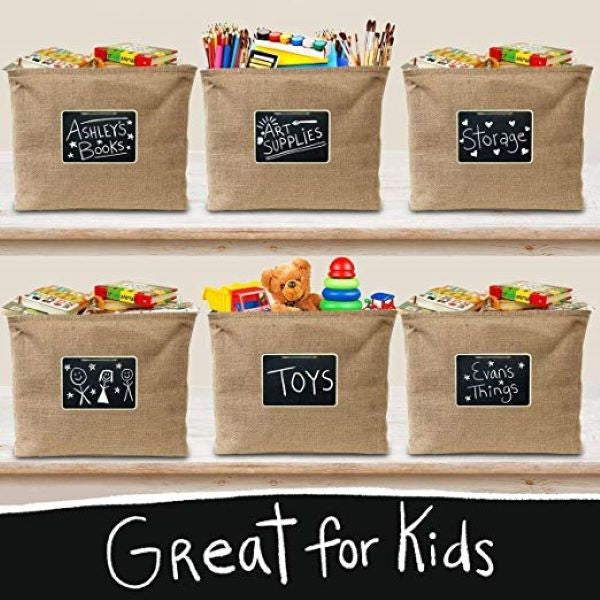 Jute Storage Basket with Chalkboard Label and Chalk Marker