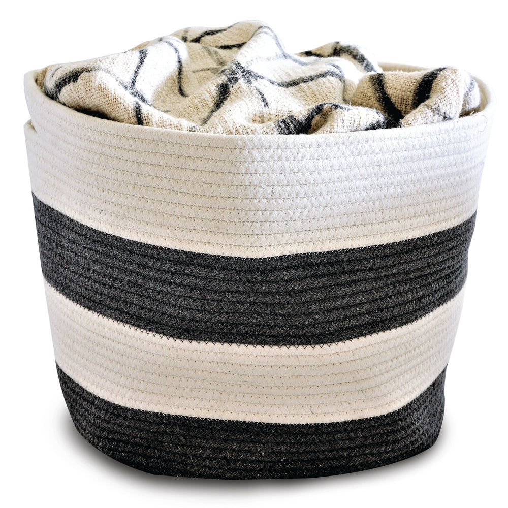 Natural Cotton Rope - Gray/White Stripe