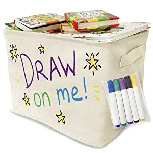 Canvas Storage Basket with 5 Non-Toxic Markers