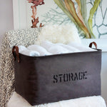 Decorative Natural Canvas Storage Basket (Gray)