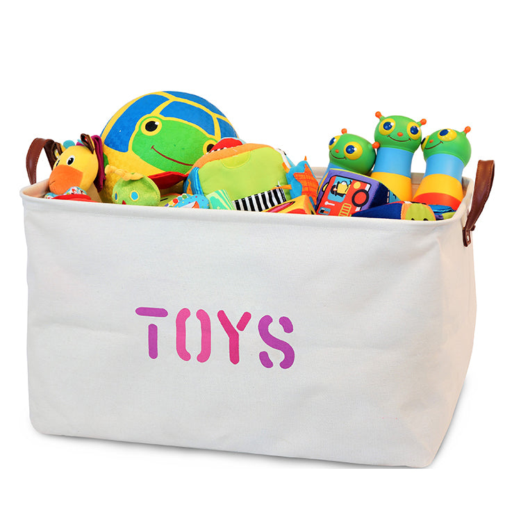 Canvas Toy Storage Basket with Handles (Pink Lettering)