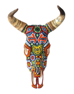 Huichol Beaded Bull And Cow Skulls