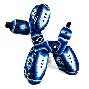 Huichol Art Ballon Dog Inspired Blue Huichol Beads - Ballon Dog - Hikkuri Casa - Mr. Hikkuri