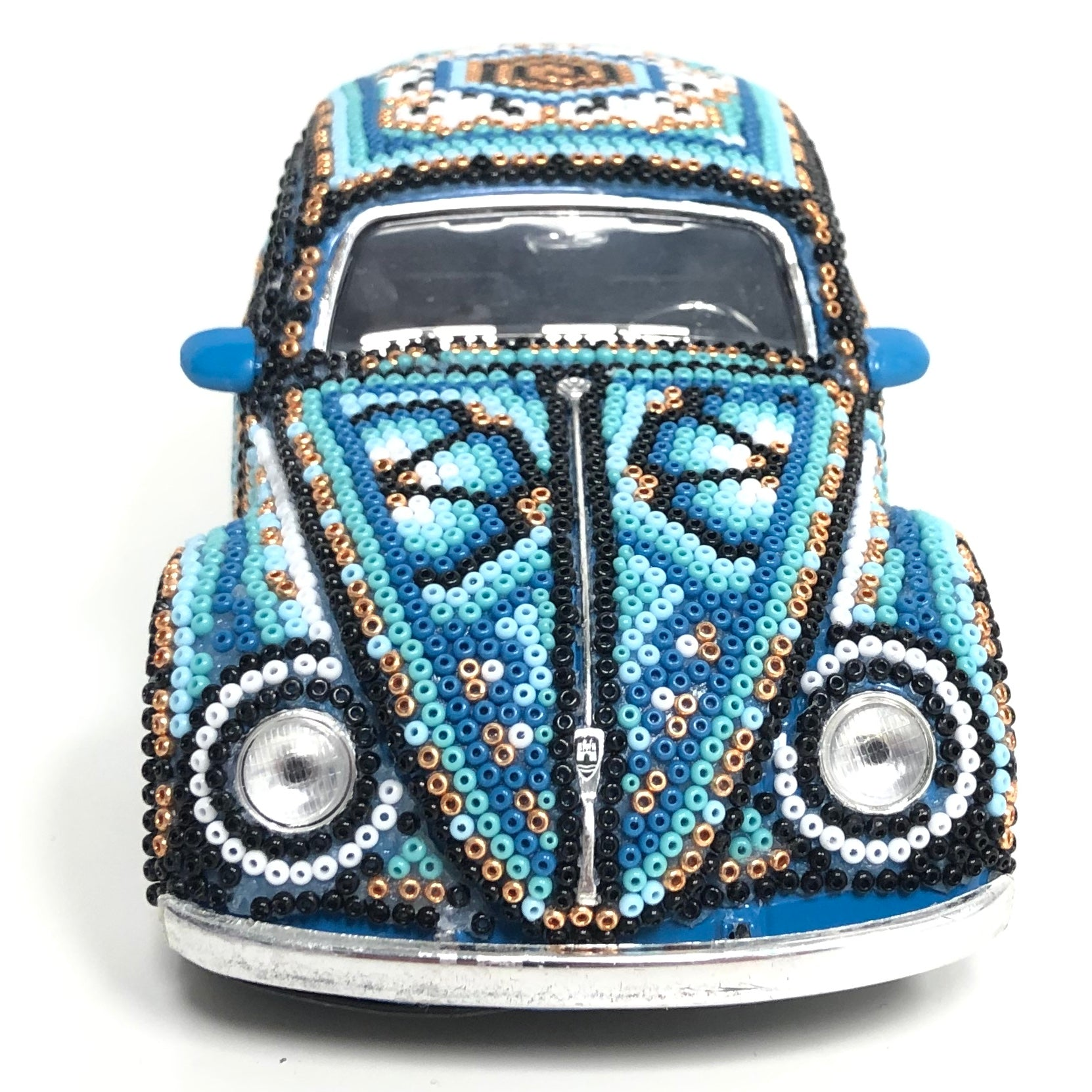 Huichol Art  - 1959 Volkswagen Beetle Covered In  Blue & Gold Huichol Art - Blue 1959 Volkswagen Beetle - Hikkuri Casa - Mr. Hikkuri