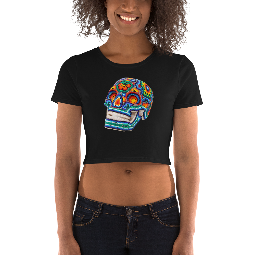Colori Skull Women's Crop Tee - Womens Tank Top - Hikkuri Casa - Mr. Hikkuri