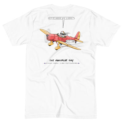 The Moustache Guy x ESC Stoke Army goes USA Unisex Crew Neck Tee